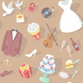 image of ring-dove  - Modern flat seamless pattern with wedding accessories - JPG