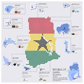 Dot And Flag Map Of Ghana Infographic Design
