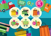 Internet shopping process and delivery icons