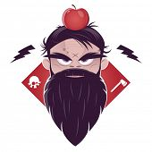 stock photo of vicious  - evil man with a long beard and an apple on his head - JPG
