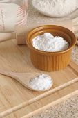 picture of baking soda  - Baking Soda or Sodium bicarbonate used in baking as a leavening agent selective focus on the spoon
