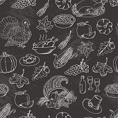 Thanksgiving seamless pattern sketch doodle. Hand draw vector illustration