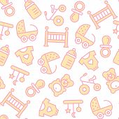 Vector Seamless Pattern With Baby Items