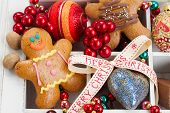 image of gingerbread man  - traditional homemade gingerbread man with colorful christmas decorations - JPG