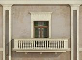 stock photo of balustrade  - Detail of a classic facade with window balcony and balustrade  - JPG