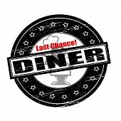 pic of diners  - Rubber stamps with text last chance diner inside vector illustration - JPG