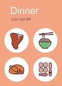 Dinner menu food and drink icons. Set of editable vector color illustrations.
