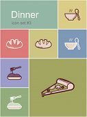 Dinner menu food and drink icons. Set of editable vector color illustrations in Metro style.