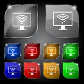 wi fi sign icon. Video game symbol. Set colourful buttons. Vector
