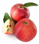 Ripe red apples isolated on white