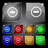 Minus sign icon. Negative symbol. Zoom out. Set colourful buttons. Vector