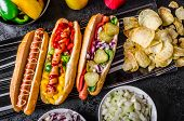 picture of hot dogs  - All beef dogs variantion of hot dogs onions beef garlic chips paprika chilli mustard ketchup - JPG