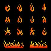 Fire flames, set icons