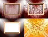 Set of Blank frame on a color wall lighting, abstract colored background with spotlights. Vector