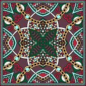 Traditional ornamental floral paisley bandanna.