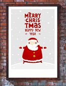 Santa Claus with Merry Christmas Label for Holiday Invitations and Greeting Cards. Xmas Poster, Bann