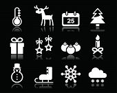 Christmas winter white icons set on black