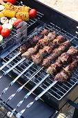 Skewers and vegetables on barbecue grill, close-up