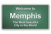 picture of memphis tennessee  - Green village sign with friendly Welcome Greetings - JPG