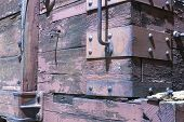 Wooden Boxcar On Railroad Car