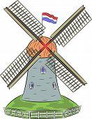 Vector Dutch Windmill.
