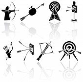 stock photo of longbow  - Set of black bow icons on white background - JPG