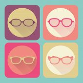 Modern Glasses. Flat Icons Vector Collection With Long Shadow Effect In Stylish Colors Of Web Design