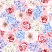 stock photo of hydrangea  - Vector seamless pattern with pink roses - JPG