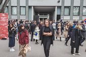 People Outside Armani Fashion Show Building For Milan Women's Fashion Week 2015