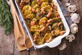 Casserole Potato With Bacon And Mushrooms Horizontal Top View