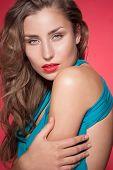 Beautiful fashion model in studio