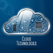Cloud computing technology concept illustration, steel with glass cloud and clockwork microchips und