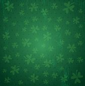 Green Background For Patricks Day With Shamrocks, Vector