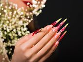 stock photo of nail-design  - Female hand with beauty pink floral design nails  - JPG