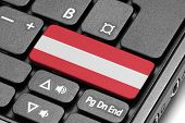 Go To Austria! Computer Keyboard With Flag Key.