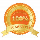 100%, Satisfaction, Guarantee, badge, orange, vector, illustration