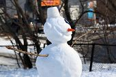 snowman at the end of winter on the Playground