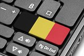 Go To Belgium! Computer Keyboard With Flag Key.