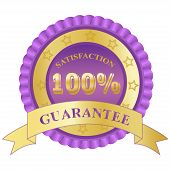 100%, Satisfaction, Guarantee, badge, purple, vector, illustration