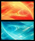 stock photo of fractals  - Two  Abstract Fractal horizontal backgrounds cosmic light in  ice blue and in orange for screen mobile telephone tablet monitor - JPG