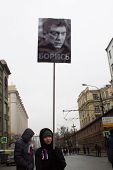 Nemtsov's Portraits On Mourning March Of