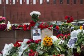 Flowers On A Place Of Murder Of The Oppositionist Boris Nemtsov