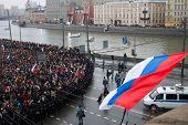 The Russian Flag Flutters Over Oppositional March