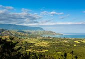 stock photo of na  - View over Hanalei bay and Na Pali range from Okolehao Trail near Hanalei Kauai Hawaii - JPG