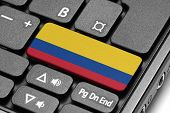 Go To Colombia! Computer Keyboard With Flag Key.