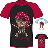Vector T-shirt with Rottweiler dog pirate