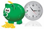 Time is money, concept, green piggy bank,vector, illustration