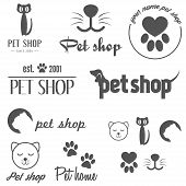 stock photo of petting  - Collection of vintage logo and logotype elements for pet shop - JPG