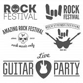 Set of vintage logo, badge, emblem or logotype elements for rock festival, guitar party and musical