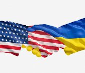 Ukraine And Us Flags